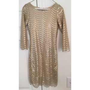Gold Scallop Edge Fitted Dress